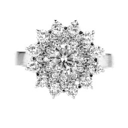 BIG FLOWER RING WITH DIAMONDS